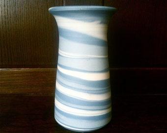 Vintage English Light Blue Twirl Table Stem Vase Pot circa 1960's / English Shop