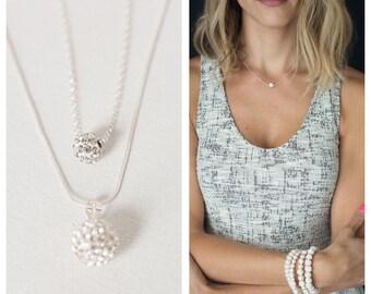 Crystal ball bridal Necklace, Bridesmaids necklace, Crystal necklace, layering silver necklace, Bridesmaids gift