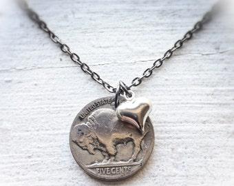 Buffalo Nickel coin, Heart, Charm Necklace - Buffalovers