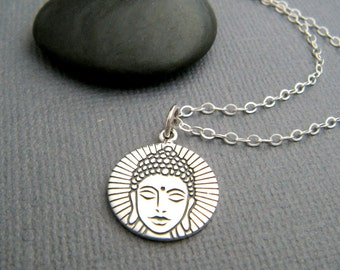 small silver Buddha head necklace. etched sterling silver zen charm. yoga jewelry yogi pendant gift Buddhism faith Budha Buddhist religion.