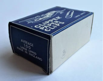 Vintage 'Clipper' Paper Clips Box with Contents 1950s Collectable Packaging Retro Made in England Stationery Office