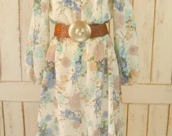 Vintage woven sheer cotton floral prairie dress