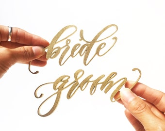 Bride and Groom Laser Cut Calligraphy Place Cards - Hawaii Calligraphy