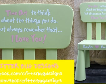 DIY Personalized Decal for a Toddler Time Out Chair, Decal for Chair, Kids Furniture Decal, Time out spot, Tot spot, childrens time out