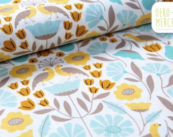 Park Life Cloud 9 Fabrics fabric - Pattern flowers leaves and birds - Mint green and mustard yellow - organic cotton
