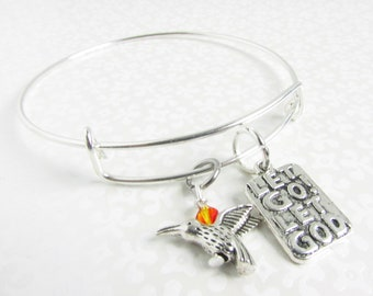Hummingbird Bracelet, Religious Bracelet, Recovery Jewelry, AA Accessories, Sobriety Support Bracelet, Sobriety Gifts, Religious Jewelry