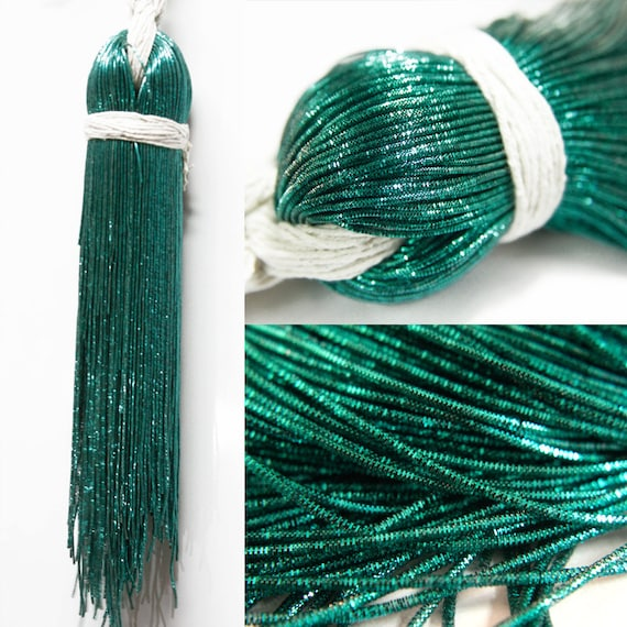 55 Yard/Packet, 1MM French Metallic Rough Wires in Emerald Green ...