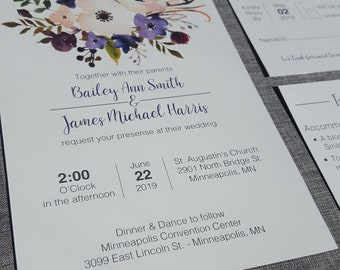 Watercolor Floral Wedding Invitation Suite with purple accents