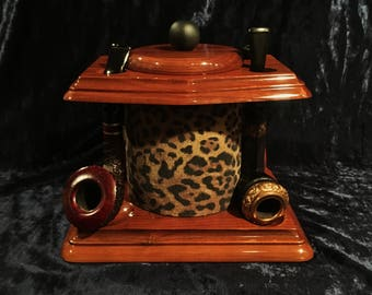 Super Cool Mid Century Walnut Pipe Stand And Humidor