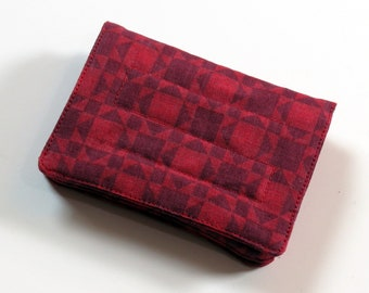 Mini Wallet - Reds - fabric (with Credit Card slots and zipper Coin pocket)