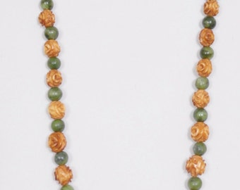 "26 1/2"" Necklace, carved roses and jade beads with easy magnet fastener"