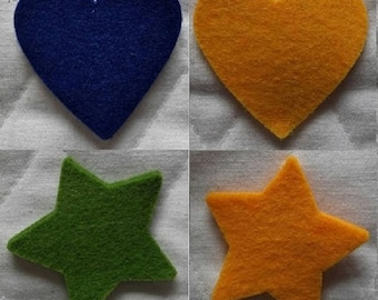 Felt star shapes or heart - size 5 cm - thickness approximately 2mm - set of 3 shapes even color