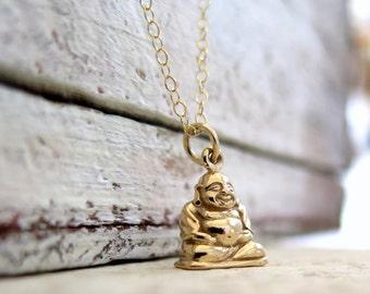 Buddha Necklace, Happy Buddha Necklace, Gold Happy Buddha Necklace, Yoga Necklace, Yoga Jewelry, Meditation Necklace