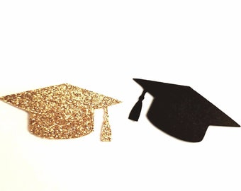 50 Gold Glitter and Black Graduation Cap Confetti,Graduation Party,Embellishment,Graduation Party Decor,Grad Scrapbook