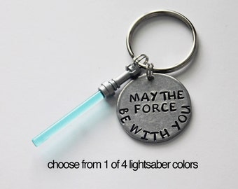 May The Force Be With You LIGHTSABER Keychain.  Lightsaber. Star Wars. Star Wars Keychain. Force. Lightsaber Keychain