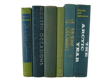 Blue Green Vintage Books,  French Country, Decorative Books,  Home Decor, Farmhouse Decor, Gift For Book Lover, Home Decor,  Photo Prop