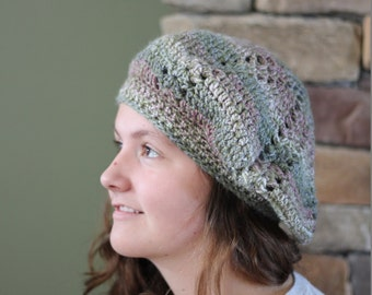 Free Shipping Available! Crocheted Ombre Rose Slouchy Tam-Styled Hat