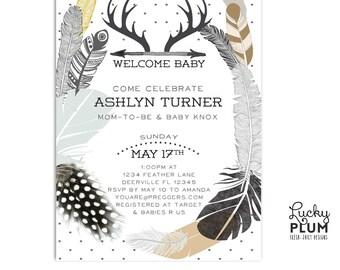 Couple Coed Baby Shower Invitation / Gender Neutral Shower Invite / Bohemian Feather Invite / Tribal Invitation / Black White Baby Invite