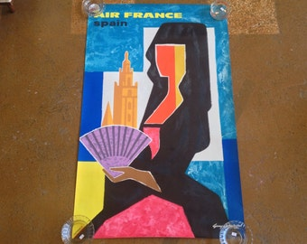 Original Air France Spain Airline Poster