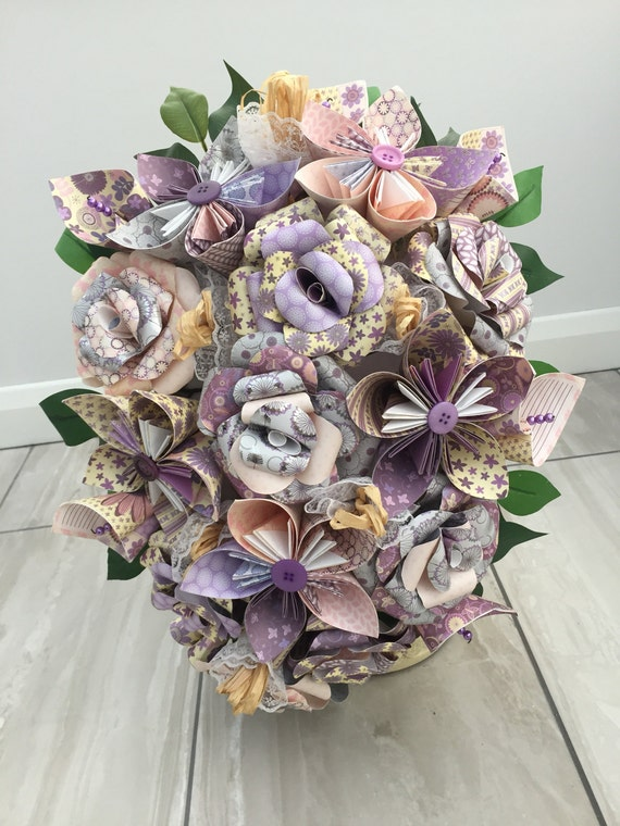 Summer flower bridal bouquet paper flower cascade bouquet