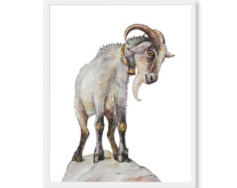 Goat Art Print Goat Painting Funny Animal Art Farm Animal Nursery Print Printable Farmhouse Decor Digital Instant Download Watercolor Print
