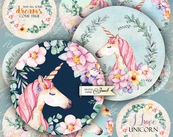 Unicorn - 2.5 inch circles - set of 12 - digital collage sheet - pocket mirrors, tags, scrapbooking, cupcake toppers