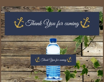 Nautical Water Bottle Labels, Instant Download, Printable Nautical Gold Anchor Wedding Label, Baby Shower Nautical Label, Nautical Birthday