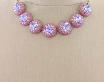 Statement Necklace - Violet Necklace - Pink Necklace - Gold Necklace - Crystal Necklace - Enamel Necklace - Rhinestone Necklace - handmade
