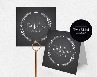 Printable Table Numbers, Wedding Table Numbers, Chalkboard Table Numbers, Folded Table Numbers, Printable Wedding Template #BPB128_7