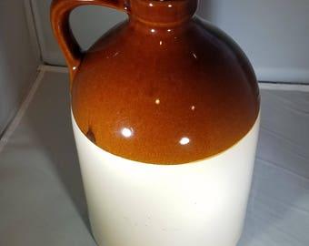 Vintage-McCoy-#51-USA-Liquor-JUG-Brown-Beige-Home Decor-Stoneware-Pottery-Primitive-Crock