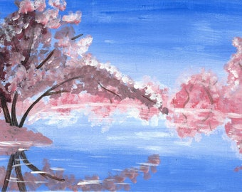 "Spring Cherry Blossoms - 5x7"" acrylic painting"