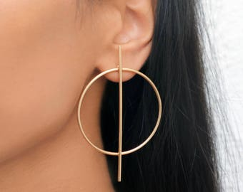 Large Gold Circle Stick Earrings
