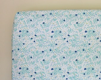 Baby Girl Crib Bedding, Floral Fitted Crib Sheet, Changing Pad Cover, Mini Crib Sheets, Wee Wander Meandering Seafoam Green and Blue Flowers