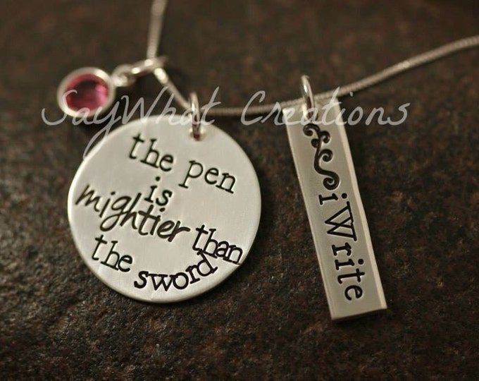 """Sterling silver Hand Stamped Writer's Necklace """"the pen is mightier than the sword"""""""