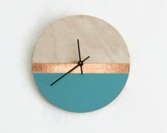 Wall Clocks, Teal & Rose Gold Copper, Housewares, Home and Living, Unique Wall Clock