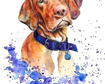 Custom Pet Portrait colourful illustration made with watercolours and pastels personalised painting