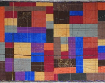 Color Play III Abstract Handmade Quilted Wall Hanging