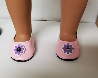 Ballet Flats for any 18 inch doll like the American Girl Doll Embellished with cute wooden buttons