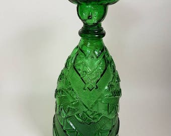 Vintage 1970s Green Glass Genie bottle decanter/ moulded glass figure