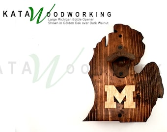 "Michigan Wall-Mount Bottle Opener with Block ""M""  - Handmade"