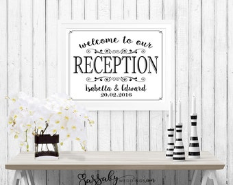 Reception Wedding Poster - INSTANT DOWNLOAD - partially Editable Welcome Arrow Sign, Bride Groom Names, Date, Art Print