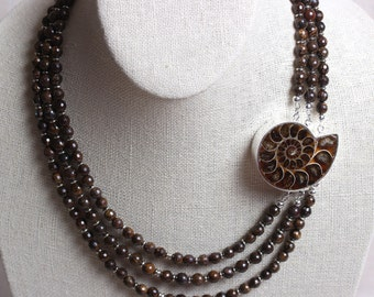 Statement Necklace - Ammonite Box Clasp with Bronzite 3 Strand Beaded Necklace