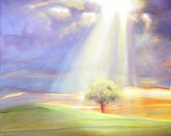 "Original Oil Painting: Rays of sun on a single tree ""Sunburst"""