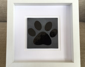 Pet Paw Fused Glass Picture