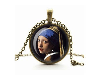 Art Necklace, Girl with the Pearl Earring Pendant, Johannes Vermeer, Glass Cameo Cabochon Art Lover Gift, Art Jewelry, Handmade Necklace