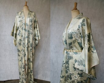Sage Green Crystanthemum Japanese Silk Kimono