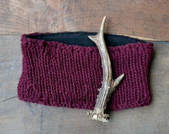 Knitted headband, Wool headband, oversized headband, worm headband, wool and fleece headband, women headband, ski headband