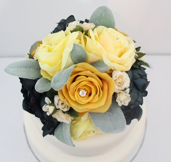 Silk Flower Wedding Cake Toppers: Items Similar To Wedding Cake Topper