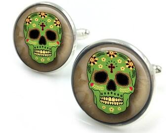 Sugar Skull Cufflinks, day of the dead, dia de los muertos, skull, cuff links 3