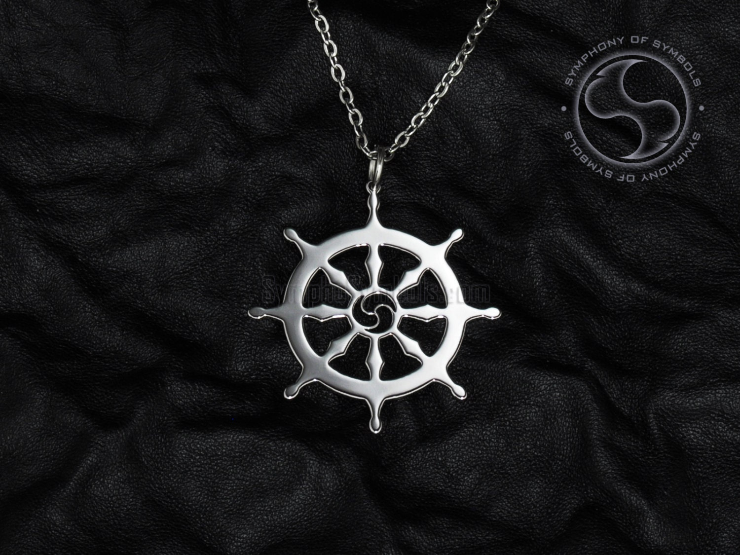 Dharma wheel pendant buddhism symbol stainless steel jewelry zoom aloadofball Gallery